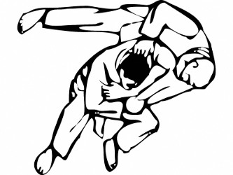 Symbolic demonstration of judo technique
